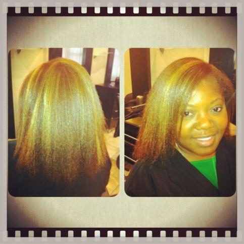 hair highlight blow dry